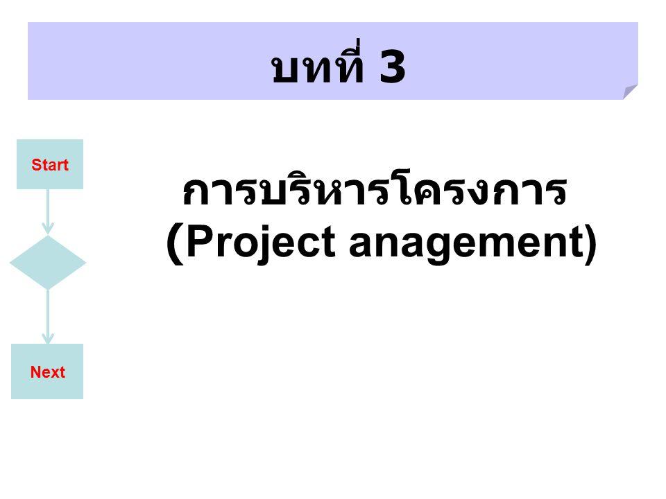 Next บทที่ 3 Start การบริหารโครงการ (Project anagement)