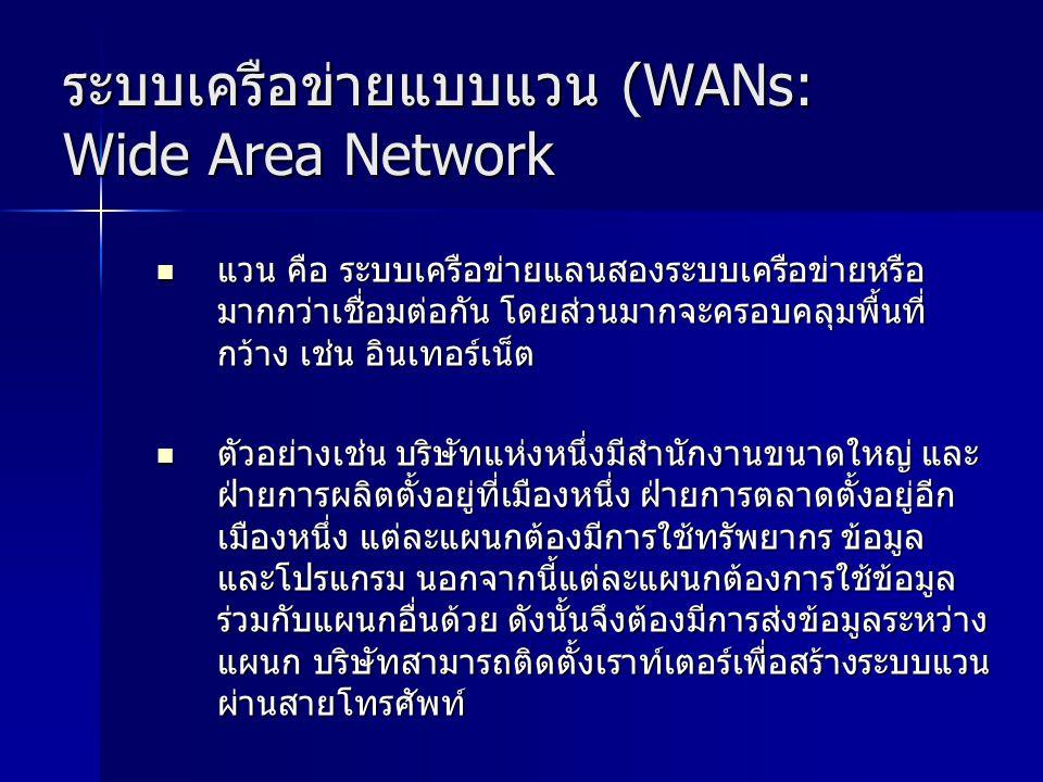 ระบบเครือข่ายแบบแวน (WANs: Wide Area Network แวน คือ ระบบเครือข่ายแลนสองระบบเครือข่ายหรือ มากกว่าเชื่อมต่อกัน โดยส่วนมากจะครอบคลุมพื้นที่ กว้าง เช่น อ