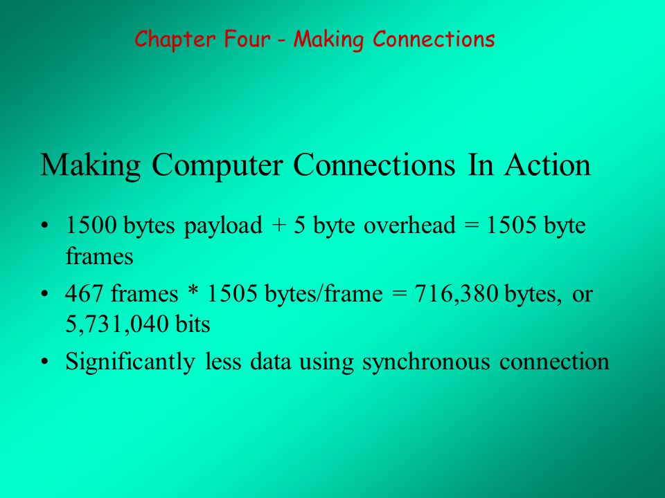 Making Computer Connections In Action 1500 bytes payload + 5 byte overhead = 1505 byte frames 467 frames * 1505 bytes/frame = 716,380 bytes, or 5,731,040 bits Significantly less data using synchronous connection Chapter Four - Making Connections