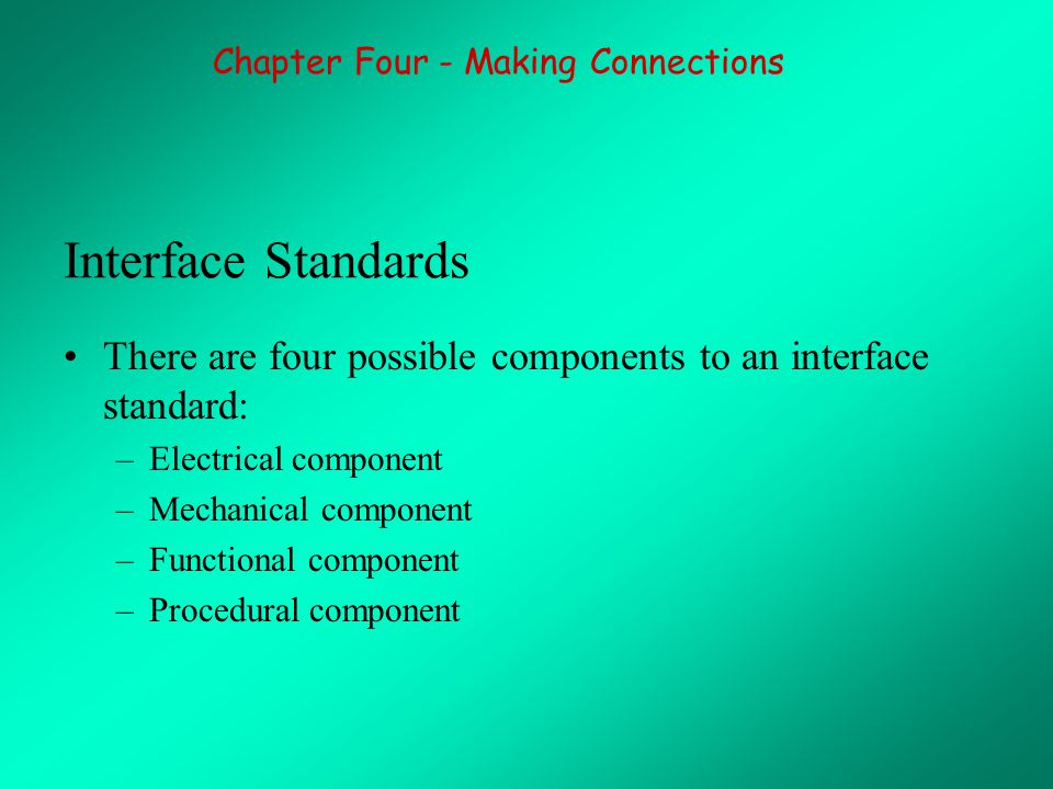 Interface Standards There are four possible components to an interface standard: –Electrical component –Mechanical component –Functional component –Procedural component Chapter Four - Making Connections