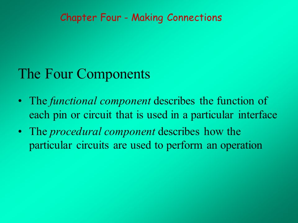 The Four Components The functional component describes the function of each pin or circuit that is used in a particular interface The procedural component describes how the particular circuits are used to perform an operation Chapter Four - Making Connections