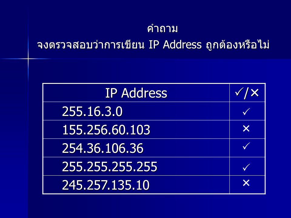คำถาม จงตรวจสอบว่าการเขียน IP Address ถูกต้องหรือไม่ IP Address //// 255.16.3.0 155.256.60.103 254.36.106.36 255.255.255.255 245.257.135.10 