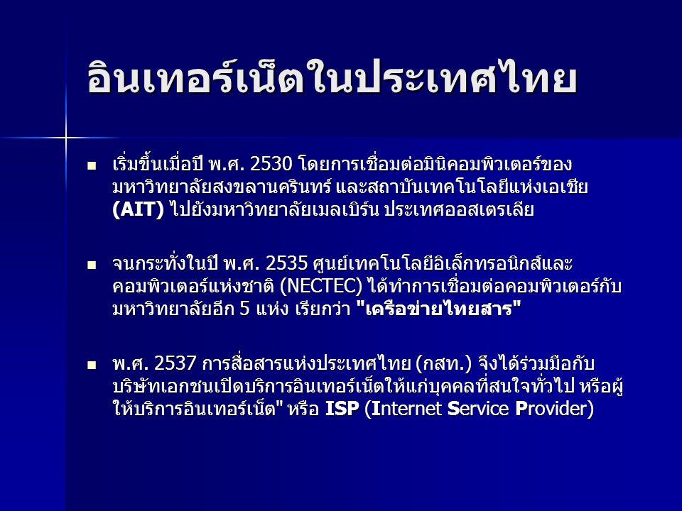อินเทอร์เน็ตในประเทศไทย เริ่มขึ้นเมื่อปี พ.ศ. 2530 โดยการเชื่อมต่อมินิคอมพิวเตอร์ของ มหาวิทยาลัยสงขลานครินทร์ และสถาบันเทคโนโลยีแห่งเอเชีย (AIT) ไปยัง