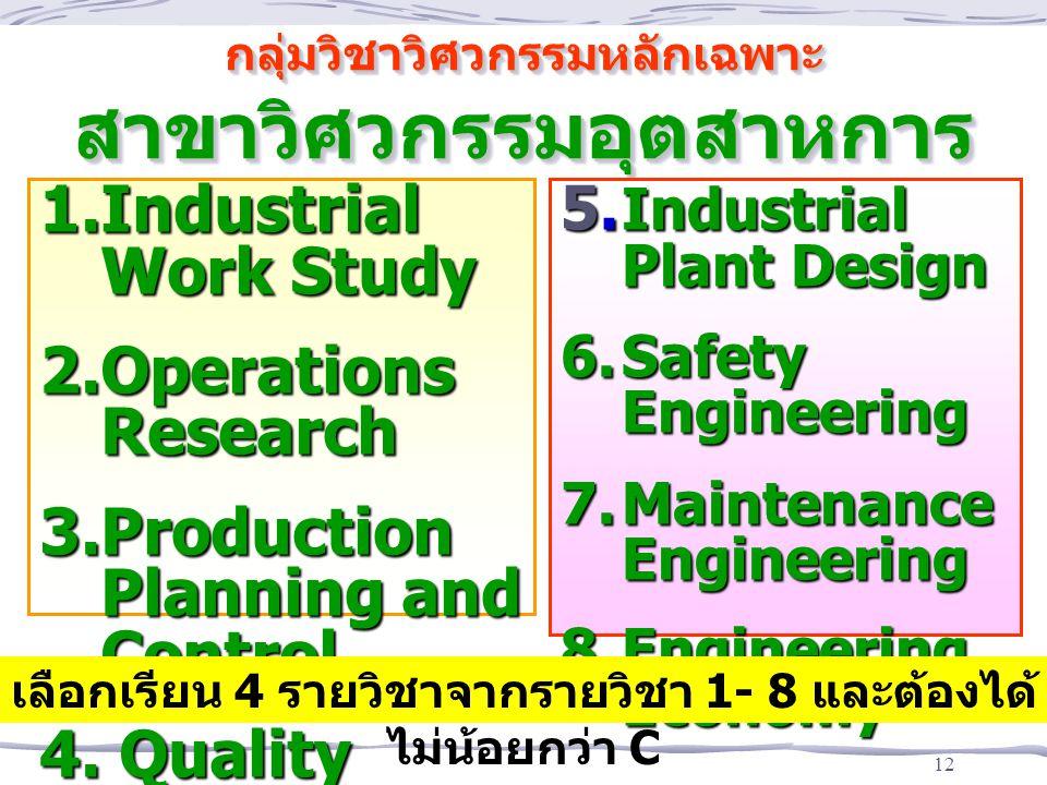 12 กลุ่มวิชาวิศวกรรมหลักเฉพาะ สาขาวิศวกรรมอุตสาหการ 1.Industrial Work Study 2.Operations Research 3.Production Planning and Control 4. Quality Control