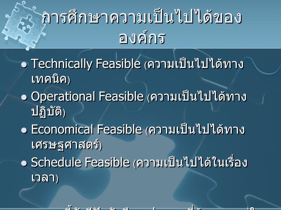 การศึกษาความเป็นไปได้ของ องค์กร Technically Feasible ( ความเป็นไปได้ทาง เทคนิค ) Operational Feasible ( ความเป็นไปได้ทาง ปฏิบัติ ) Economical Feasible
