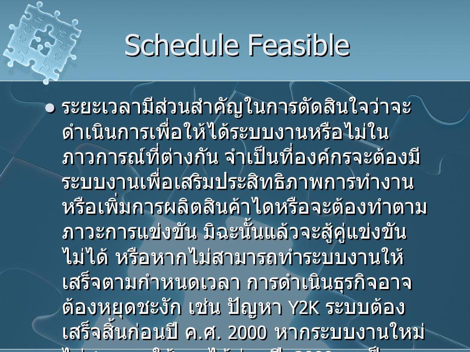 Schedule Feasible ระยะเวลามีส่วนสำคัญในการตัดสินใจว่าจะ ดำเนินการเพื่อให้ได้ระบบงานหรือไม่ใน ภาวการณ์ที่ต่างกัน จำเป็นที่องค์กรจะต้องมี ระบบงานเพื่อเส