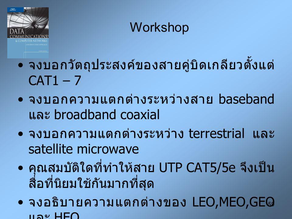 59 Workshop จงบอกวัตถุประสงค์ของสายคู่บิดเกลียวตั้งแต่ CAT1 – 7 จงบอกความแตกต่างระหว่างสาย baseband และ broadband coaxial จงบอกความแตกต่างระหว่าง terr