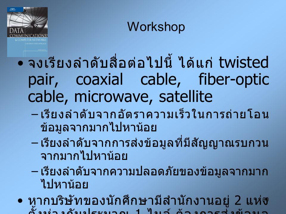 60 Workshop จงเรียงลำดับสื่อต่อไปนี้ ได้แก่ twisted pair, coaxial cable, fiber-optic cable, microwave, satellite – เรียงลำดับจากอัตราความเร็วในการถ่ายโอน ข้อมูลจากมากไปหาน้อย – เรียงลำดับจากการส่งข้อมูลที่มีสัญญาณรบกวน จากมากไปหาน้อย – เรียงลำดับจากความปลอดภัยของข้อมูลจากมาก ไปหาน้อย หากบริษัทของนักศึกษามีสำนักงานอยู่ 2 แห่ง ตั้งห่างกันประมาณ 1 ไมล์ ต้องการส่งข้อมูล ระหว่างสำนักงาน 2 แห่ง ด้วยอัตราความเร็ว มากกว่า 100 Mbps จงแสดงความเป็นไปได้ใน การเชื่อมต่อระหว่าง 2 สำนักงาน โดยพิจารณา ถึง เชิงเทคนิค, การเงิน และสภาพแวดล้อมด้วย