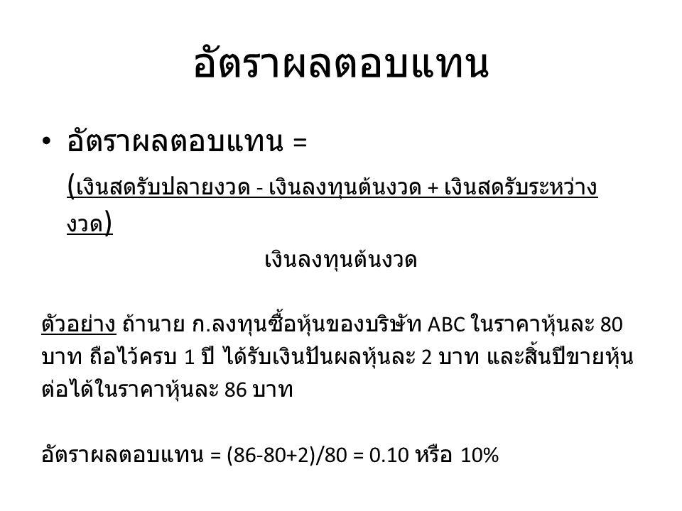 ความเสี่ยง ความเสี่ยงทางธุรกิจ (business risk) ความเสี่ยงทางการเงิน (financial risk) ความเสี่ยงเกี่ยวกับอัตราดอกเบี้ย (interest rate risk) ความเสี่ยงในอำนาจซื้อ (purchasing power risk) ความเสี่ยงของอัตราผลตอบแทนจากการลงทุนต่อ (reinvestment rate risk)