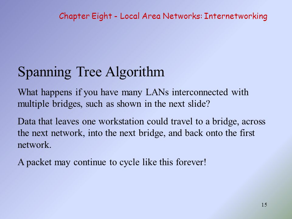 15 Spanning Tree Algorithm What happens if you have many LANs interconnected with multiple bridges, such as shown in the next slide? Data that leaves