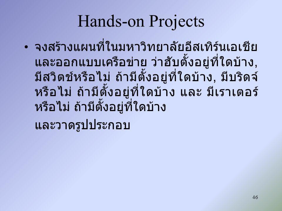 46 Hands-on Projects จงสร้างแผนที่ในมหาวิทยาลัยอีสเทิร์นเอเชีย และออกแบบเครือข่าย ว่าฮับตั้งอยู่ที่ใดบ้าง, มีสวิตช์หรือไม่ ถ้ามีตั้งอยู่ที่ใดบ้าง, มีบ