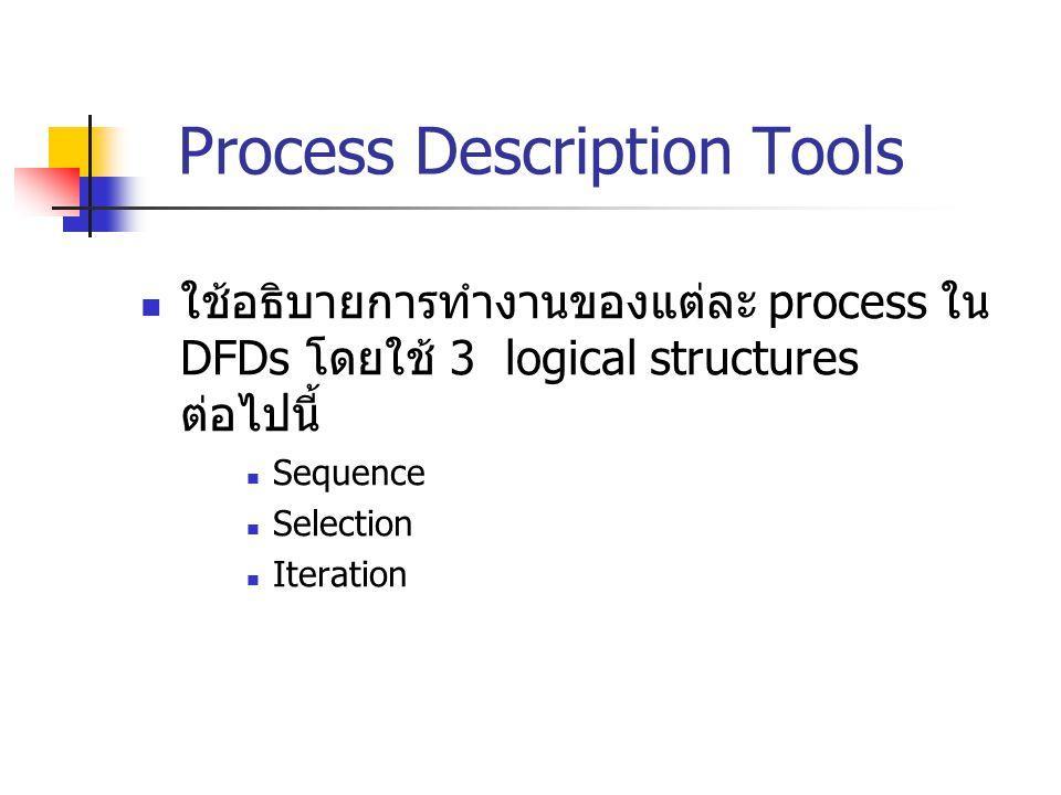 Process Description Tools ใช้อธิบายการทำงานของแต่ละ process ใน DFDs โดยใช้ 3 logical structures ต่อไปนี้ Sequence Selection Iteration