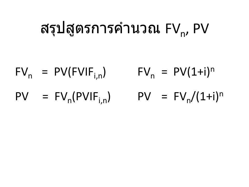 สรุปสูตรการคำนวณ FV n, PV FV n = PV(FVIF i,n ) PV = FV n (PVIF i,n ) FV n = PV(1+i) n PV = FV n /(1+i) n
