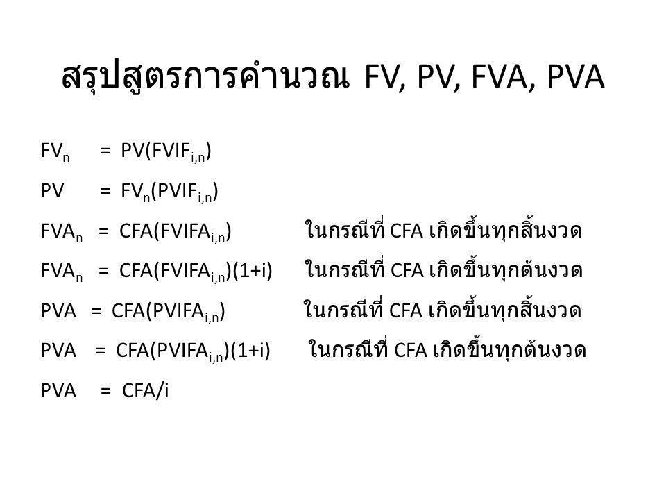 สรุปสูตรการคำนวณ FV, PV, FVA, PVA FV n = PV(FVIF i,n ) PV = FV n (PVIF i,n ) FVA n = CFA(FVIFA i,n ) ในกรณีที่ CFA เกิดขึ้นทุกสิ้นงวด FVA n = CFA(FVIF