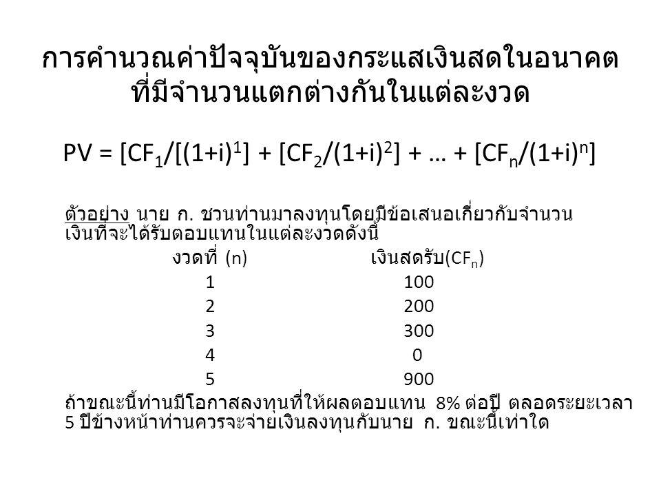 การคำนวณค่าปัจจุบันของกระแสเงินสดในอนาคต ที่มีจำนวนแตกต่างกันในแต่ละงวด PV = [CF 1 /[(1+i) 1 ] + [CF 2 /(1+i) 2 ] + … + [CF n /(1+i) n ] งวดที่ (n) เงินสดรับ (CF n )PV 1100100/(1+.08) 1 = 92.59 2200200/(1+.08) 2 = 171.46 3300300/(1+.08) 3 = 238.14 4 0 0/(1+.08) 4 = 0 5900900/(1+.08) 5 = 612.54 1,114.73