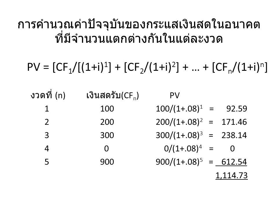 การคำนวณค่าปัจจุบันของกระแสเงินสดในอนาคต ที่มีจำนวนแตกต่างกันในแต่ละงวด PV = [CF 1 /[(1+i) 1 ] + [CF 2 /(1+i) 2 ] + … + [CF n /(1+i) n ] งวดที่ (n) เง