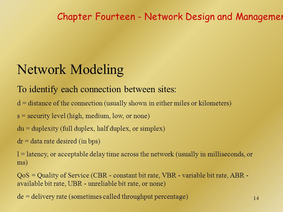 14 Network Modeling To identify each connection between sites: d = distance of the connection (usually shown in either miles or kilometers) s = securi