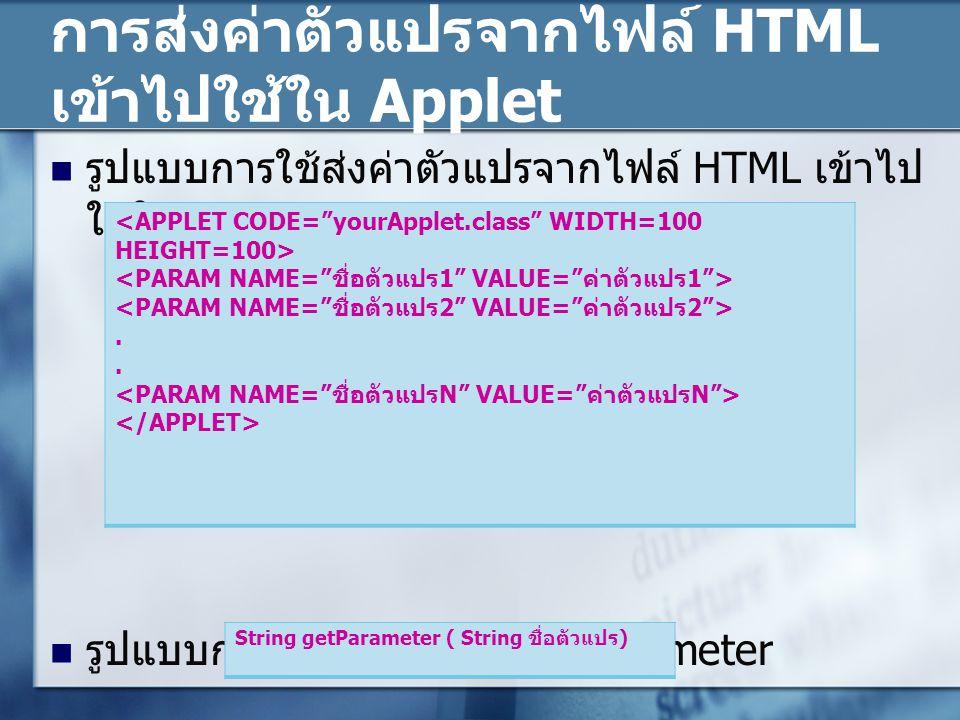 การส่งค่าตัวแปรจากไฟล์ HTML เข้าไปใช้ใน Applet รูปแบบการใช้ส่งค่าตัวแปรจากไฟล์ HTML เข้าไป ใช้ในคลาส Applet รูปแบบการใช้งานเมธอด getParameter. String