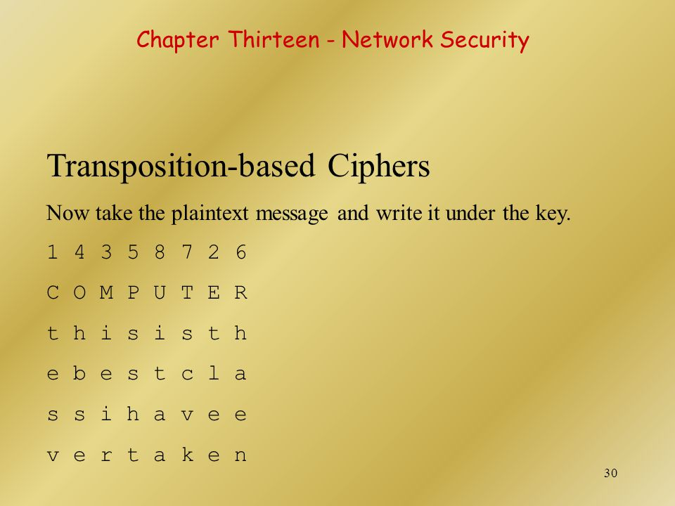 31 Transposition-based Ciphers Then read the ciphertext down the columns, starting with the column numbered 1, followed by column number 2.