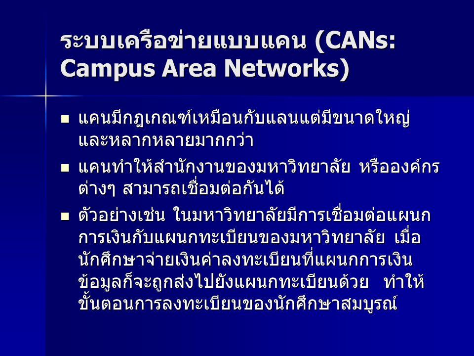 ระบบเครือข่ายแบบแคน (CANs: Campus Area Networks) แคนมีกฎเกณฑ์เหมือนกับแลนแต่มีขนาดใหญ่ และหลากหลายมากกว่า แคนมีกฎเกณฑ์เหมือนกับแลนแต่มีขนาดใหญ่ และหลากหลายมากกว่า แคนทำให้สำนักงานของมหาวิทยาลัย หรือองค์กร ต่างๆ สามารถเชื่อมต่อกันได้ แคนทำให้สำนักงานของมหาวิทยาลัย หรือองค์กร ต่างๆ สามารถเชื่อมต่อกันได้ ตัวอย่างเช่น ในมหาวิทยาลัยมีการเชื่อมต่อแผนก การเงินกับแผนกทะเบียนของมหาวิทยาลัย เมื่อ นักศึกษาจ่ายเงินค่าลงทะเบียนที่แผนกการเงิน ข้อมูลก็จะถูกส่งไปยังแผนกทะเบียนด้วย ทำให้ ขั้นตอนการลงทะเบียนของนักศึกษาสมบูรณ์ ตัวอย่างเช่น ในมหาวิทยาลัยมีการเชื่อมต่อแผนก การเงินกับแผนกทะเบียนของมหาวิทยาลัย เมื่อ นักศึกษาจ่ายเงินค่าลงทะเบียนที่แผนกการเงิน ข้อมูลก็จะถูกส่งไปยังแผนกทะเบียนด้วย ทำให้ ขั้นตอนการลงทะเบียนของนักศึกษาสมบูรณ์