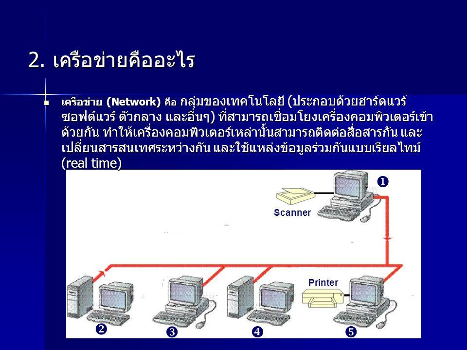 2. เครือข่ายคืออะไร     Scanner Printer เครือข่าย (Network) คือ กลุ่มของเทคโนโลยี (ประกอบด้วยฮาร์ดแวร์ ซอฟต์แวร์ ตัวกลาง และอื่นๆ) ที่สามารถเชื่อ