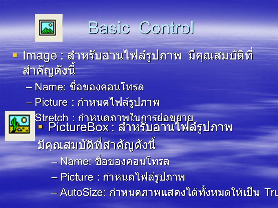 Basic Control Basic Control  Image : สำหรับอ่านไฟล์รูปภาพ มีคุณสมบัติที่ สำคัญดังนี้ –Name: ชื่อของคอนโทรล –Picture : กำหนดไฟล์รูปภาพ –Stretch : กำหน