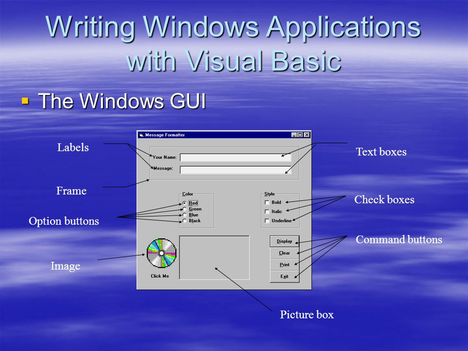 Writing Windows Applications with Visual Basic  The Windows GUI Text boxes Frame Labels Option buttons Check boxes Command buttons Image Picture box