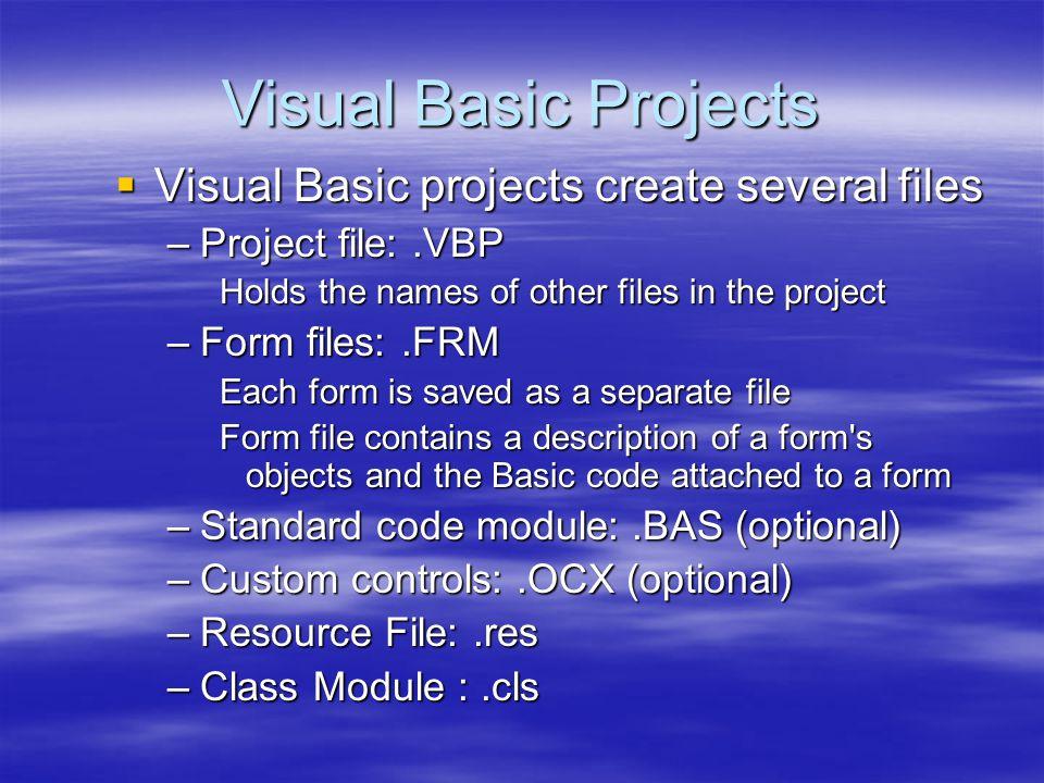 Basic Control Basic Control  Option Button : สำหรับให้ผู้ใช้เลือกตัวเลือกใด ตัวหนึ่งเท่านั้น มีคุณสมบัติที่สำคัญดังนี้ มีคุณสมบัติที่สำคัญดังนี้ –Name: ชื่อของคอนโทรล –Caption: กำหนดข้อความที่ต้องการให้แสดง –Value : ระบุว่าคอนโทรลนี้ถูกเลือกหรือไม่