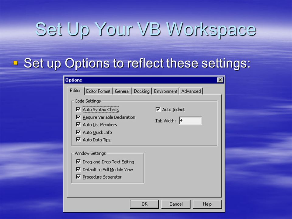 Set Up Your VB Workspace  Set up Options to reflect these settings: