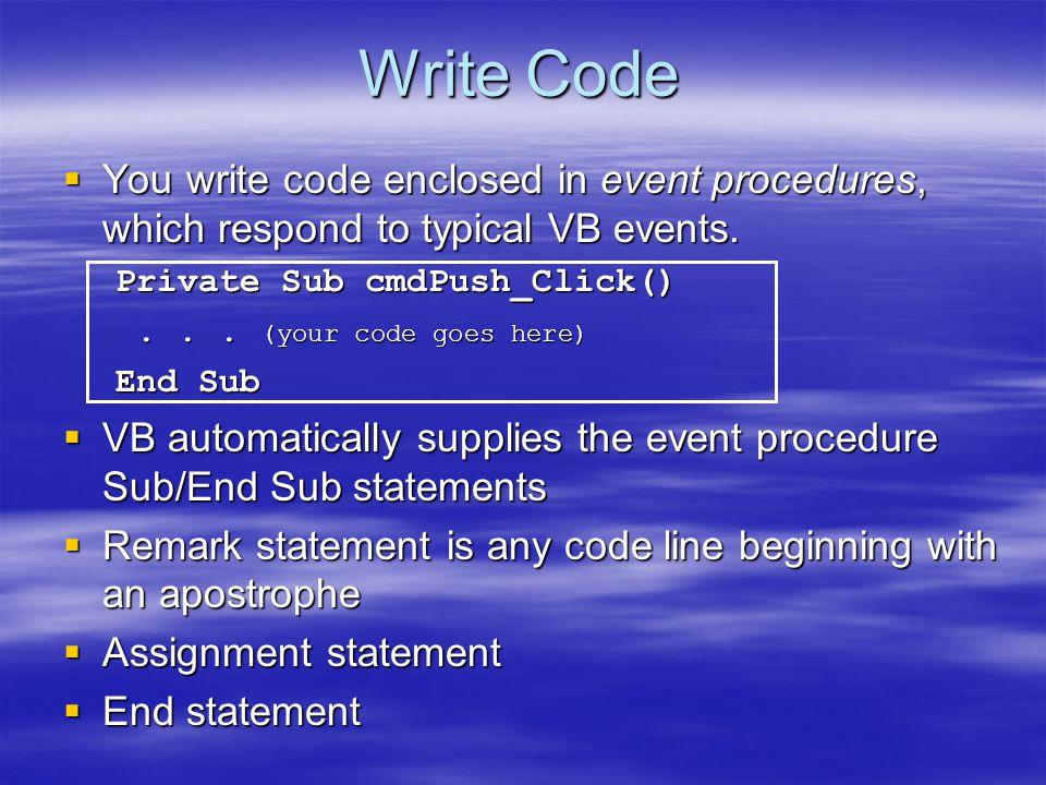 Basic Control Basic Control  Command Button : เป็นปุ่มคำสั่ง ทดลองเขียน โปรแกรมเพื่อจะได้เข้าใจในส่วนของ Property Name เช่น Private Sub cmdShow_Click() cmdShow.Caption = อาจารย์สายสุนีย์ เจริญสุข cmdShow.Caption = อาจารย์สายสุนีย์ เจริญสุข End Sub หมายเหตุ สามารถเปลี่ยนให้แสดงชื่อที่ Form,TextBox, Label เป็นต้นได้ให้นักศึกษาทดลอง ทำ
