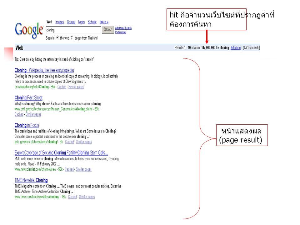 เทคนิคพิเศษของ google 16.Google สามารถค้นหา Catalog สินค้าได้ ( เข้าไปที่ http://catalogs.google.com)/ 17.Google สามารถเก็บข้อมูลลักษณะการใช้ ที่ต้องการได้โดยเข้าไปที่ Preferences หรือ ตัวเลือก ใน Google ไทย