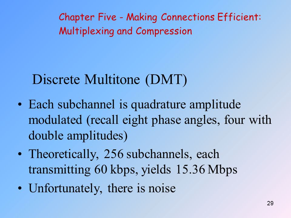 29 Discrete Multitone (DMT) Each subchannel is quadrature amplitude modulated (recall eight phase angles, four with double amplitudes) Theoretically, 256 subchannels, each transmitting 60 kbps, yields 15.36 Mbps Unfortunately, there is noise Chapter Five - Making Connections Efficient: Multiplexing and Compression