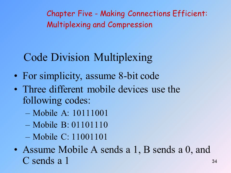 34 Code Division Multiplexing For simplicity, assume 8-bit code Three different mobile devices use the following codes: –Mobile A: 10111001 –Mobile B: 01101110 –Mobile C: 11001101 Assume Mobile A sends a 1, B sends a 0, and C sends a 1 Chapter Five - Making Connections Efficient: Multiplexing and Compression