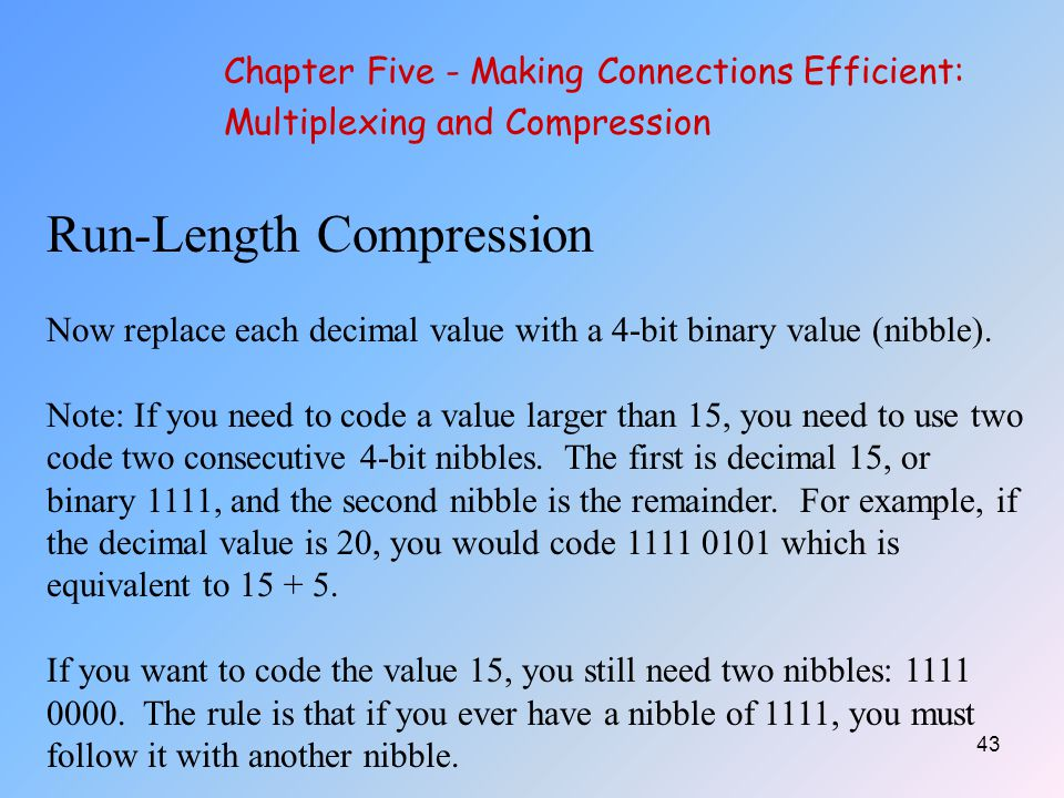 43 Run-Length Compression Now replace each decimal value with a 4-bit binary value (nibble).