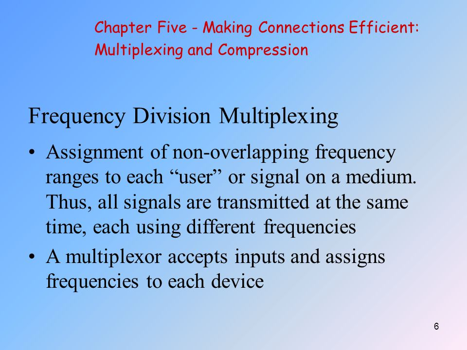 7 Frequency Division Multiplexing The multiplexor is attached to a high-speed communications line A corresponding multiplexor, or demultiplexor, is on the end of the high-speed line and separates the multiplexed signals Chapter Five - Making Connections Efficient: Multiplexing and Compression