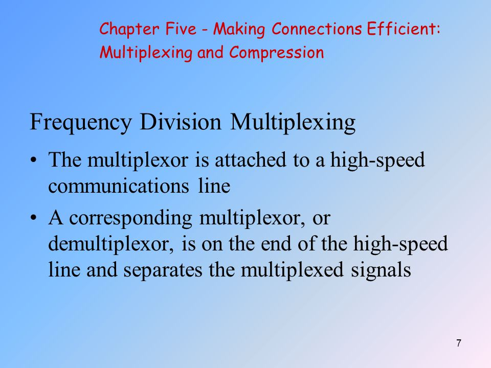 8 Chapter Five - Making Connections Efficient: Multiplexing and Compression