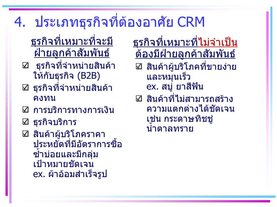 4. ประเภทธุรกิจที่ต้องอาศัย CRM ธุรกิจที่เหมาะที่จะมี ฝ่ายลูกค้าสัมพันธ์ ธุรกิจที่จำหน่ายสินค้า ให้กับธุรกิจ (B2B) ธุรกิจที่จำหน่ายสินค้า คงทน การบริก