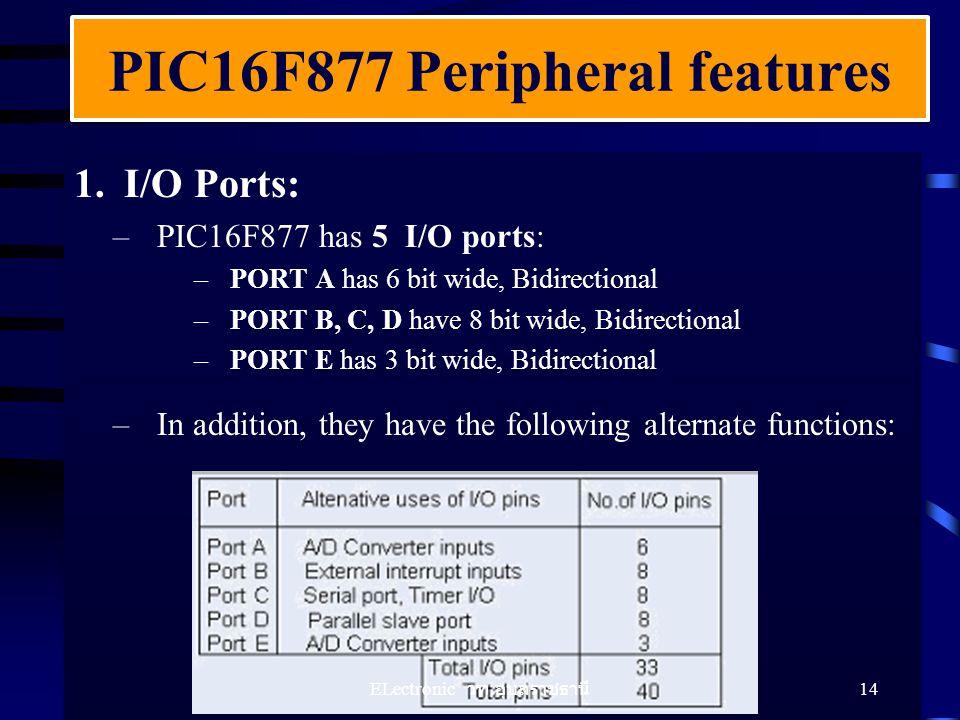 1.I/O Ports: –PIC16F877 has 5 I/O ports: –PORT A has 6 bit wide, Bidirectional –PORT B, C, D have 8 bit wide, Bidirectional –PORT E has 3 bit wide, Bi