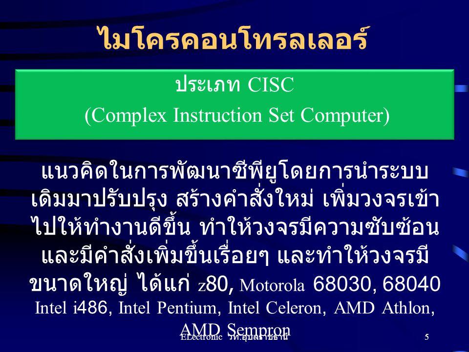 ไมโครคอนโทรลเลอร์ ประเภท RISC (Reduce Instruction Set Computer ) เนื่องจากชนิด CISC ยิ่งพัฒนายิ่ง มีขนาดใหญ่ และ คำสั่งมากขึ้น ทำให้ พัฒนาได้ยากมากขึ้น จึงได้มีแนวคิดใน การออกแบบใหม่ให้มีขนาดเล็กลง ลด ขนาดคำสั่งลง ได้แก่ PIC, ARM, AVR 6 ELectronic วท.