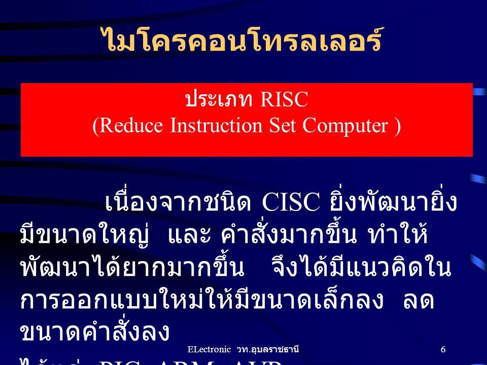 ไมโครคอนโทรลเลอร์ ประเภท RISC (Reduce Instruction Set Computer ) เนื่องจากชนิด CISC ยิ่งพัฒนายิ่ง มีขนาดใหญ่ และ คำสั่งมากขึ้น ทำให้ พัฒนาได้ยากมากขึ้
