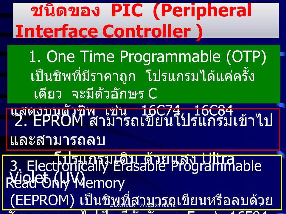 ชนิดของ PIC (Peripheral Interface Controller ) 1. One Time Programmable (OTP) เป็นชิพที่มีราคาถูก โปรแกรมได้แค่ครั้ง เดียว จะมีตัวอักษร C แสดงบนตัวชิพ