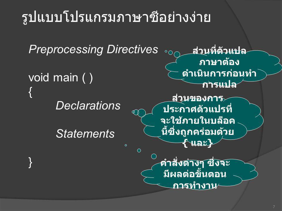 General form of C source program Preprocessing directives Global Declarations void main() { local declarations Statements } User-defined function () { Local declarations Statements } 18 มีได้เพียง 1 ฟังก์ชัน main() เท่านั้น อาจมีได้หลายฟังก์ชัน แต่ชื่อ ต้องไม่ซ้ำกัน
