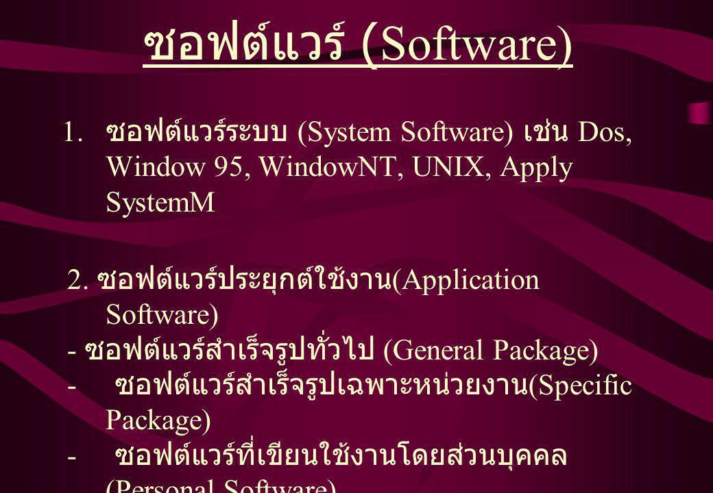 1. ซอฟต์แวร์ระบบ (System Software) เช่น Dos, Window 95, WindowNT, UNIX, Apply SystemM ซอฟต์แวร์ (Software) 2. ซอฟต์แวร์ประยุกต์ใช้งาน (Application Sof
