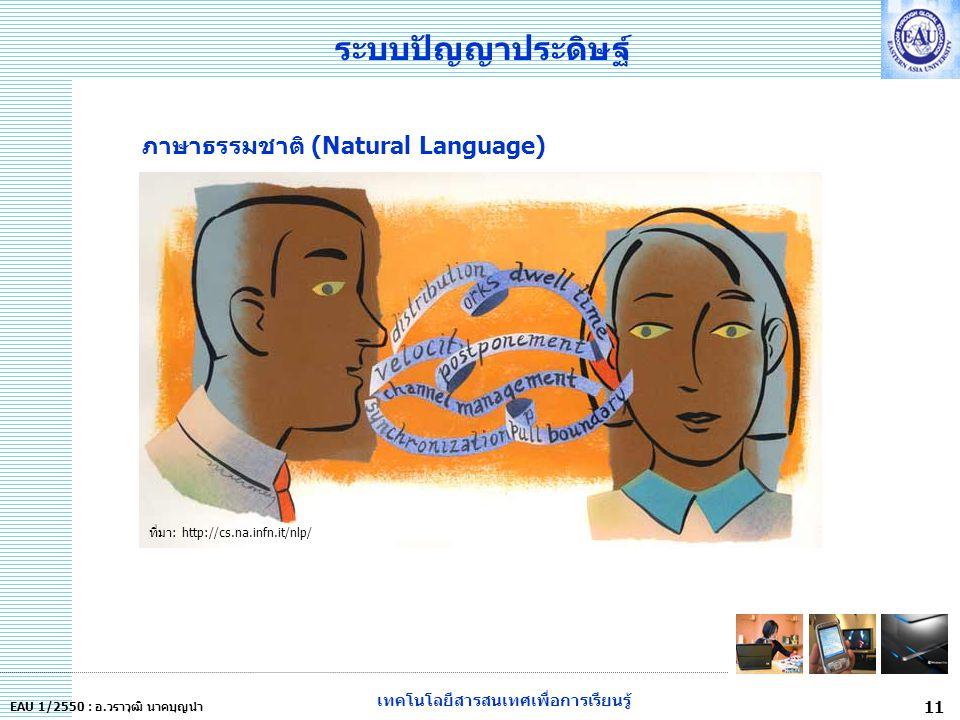 เทคโนโลยีสารสนเทศเพื่อการเรียนรู้ 11 EAU 1/2550 : อ.วราวุฒิ นาคบุญนำ ระบบปัญญาประดิษฐ์ ที่มา: http://cs.na.infn.it/nlp/ ภาษาธรรมชาติ (Natural Language)
