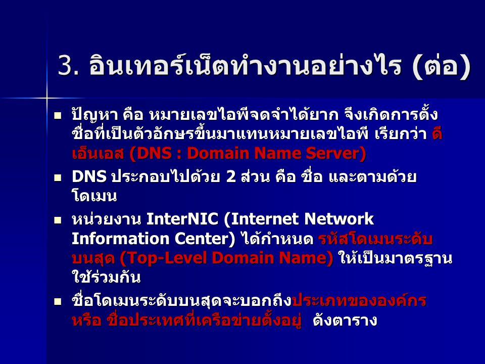 ปัญหา คือ หมายเลขไอพีจดจำได้ยาก จึงเกิดการตั้ง ชื่อที่เป็นตัวอักษรขึ้นมาแทนหมายเลขไอพี เรียกว่า ดี เอ็นเอส (DNS : Domain Name Server) ปัญหา คือ หมายเลขไอพีจดจำได้ยาก จึงเกิดการตั้ง ชื่อที่เป็นตัวอักษรขึ้นมาแทนหมายเลขไอพี เรียกว่า ดี เอ็นเอส (DNS : Domain Name Server) DNS ประกอบไปด้วย 2 ส่วน คือ ชื่อ และตามด้วย โดเมน DNS ประกอบไปด้วย 2 ส่วน คือ ชื่อ และตามด้วย โดเมน หน่วยงาน InterNIC (Internet Network Information Center) ได้กำหนด รหัสโดเมนระดับ บนสุด (Top-Level Domain Name) ให้เป็นมาตรฐาน ใช้ร่วมกัน หน่วยงาน InterNIC (Internet Network Information Center) ได้กำหนด รหัสโดเมนระดับ บนสุด (Top-Level Domain Name) ให้เป็นมาตรฐาน ใช้ร่วมกัน ชื่อโดเมนระดับบนสุดจะบอกถึงประเภทขององค์กร หรือ ชื่อประเทศที่เครือข่ายตั้งอยู่ ดังตาราง ชื่อโดเมนระดับบนสุดจะบอกถึงประเภทขององค์กร หรือ ชื่อประเทศที่เครือข่ายตั้งอยู่ ดังตาราง 3.