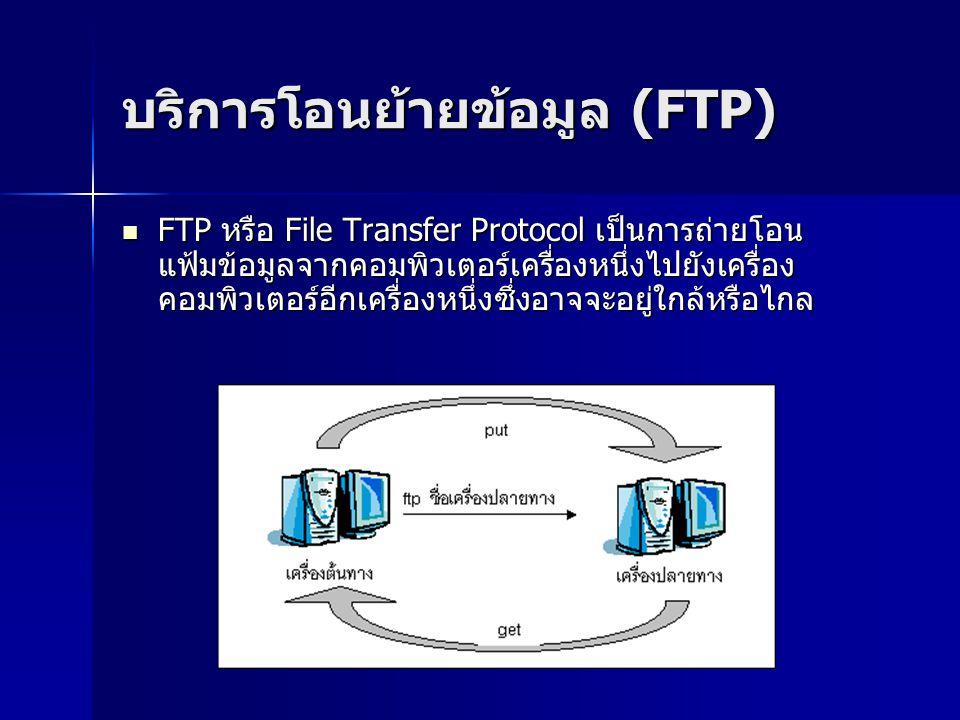 บริการโอนย้ายข้อมูล (FTP) FTP หรือ File Transfer Protocol เป็นการถ่ายโอน แฟ้มข้อมูลจากคอมพิวเตอร์เครื่องหนึ่งไปยังเครื่อง คอมพิวเตอร์อีกเครื่องหนึ่งซึ่งอาจจะอยู่ใกล้หรือไกล FTP หรือ File Transfer Protocol เป็นการถ่ายโอน แฟ้มข้อมูลจากคอมพิวเตอร์เครื่องหนึ่งไปยังเครื่อง คอมพิวเตอร์อีกเครื่องหนึ่งซึ่งอาจจะอยู่ใกล้หรือไกล