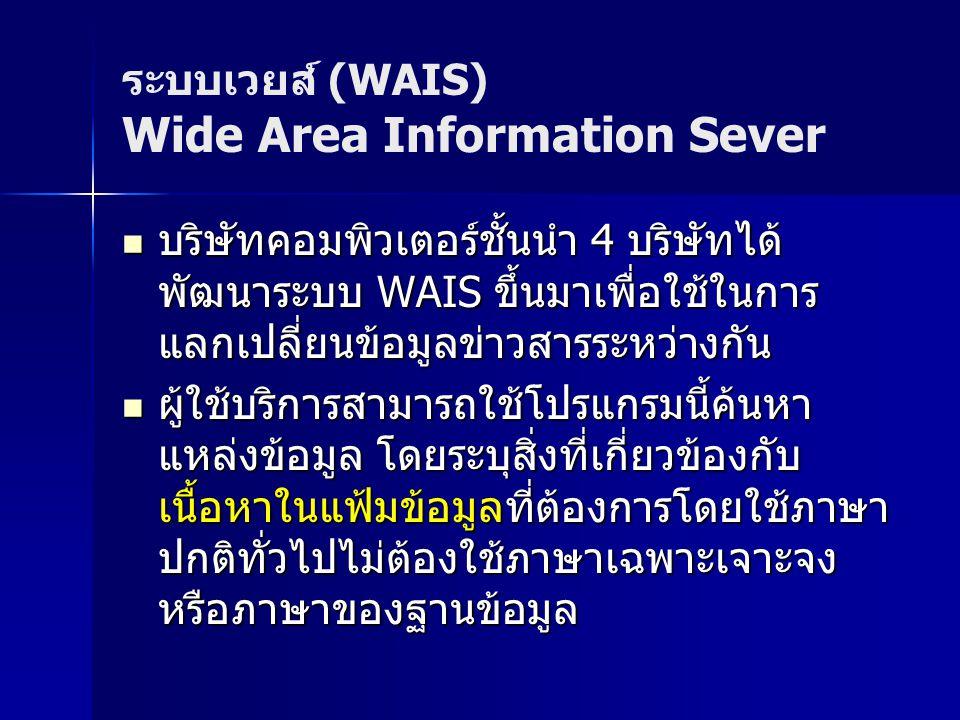 ระบบเวยส์ (WAIS) Wide Area Information Sever บริษัทคอมพิวเตอร์ชั้นนำ 4 บริษัทได้ พัฒนาระบบ WAIS ขึ้นมาเพื่อใช้ในการ แลกเปลี่ยนข้อมูลข่าวสารระหว่างกัน บริษัทคอมพิวเตอร์ชั้นนำ 4 บริษัทได้ พัฒนาระบบ WAIS ขึ้นมาเพื่อใช้ในการ แลกเปลี่ยนข้อมูลข่าวสารระหว่างกัน ผู้ใช้บริการสามารถใช้โปรแกรมนี้ค้นหา แหล่งข้อมูล โดยระบุสิ่งที่เกี่ยวข้องกับ เนื้อหาในแฟ้มข้อมูลที่ต้องการโดยใช้ภาษา ปกติทั่วไปไม่ต้องใช้ภาษาเฉพาะเจาะจง หรือภาษาของฐานข้อมูล ผู้ใช้บริการสามารถใช้โปรแกรมนี้ค้นหา แหล่งข้อมูล โดยระบุสิ่งที่เกี่ยวข้องกับ เนื้อหาในแฟ้มข้อมูลที่ต้องการโดยใช้ภาษา ปกติทั่วไปไม่ต้องใช้ภาษาเฉพาะเจาะจง หรือภาษาของฐานข้อมูล