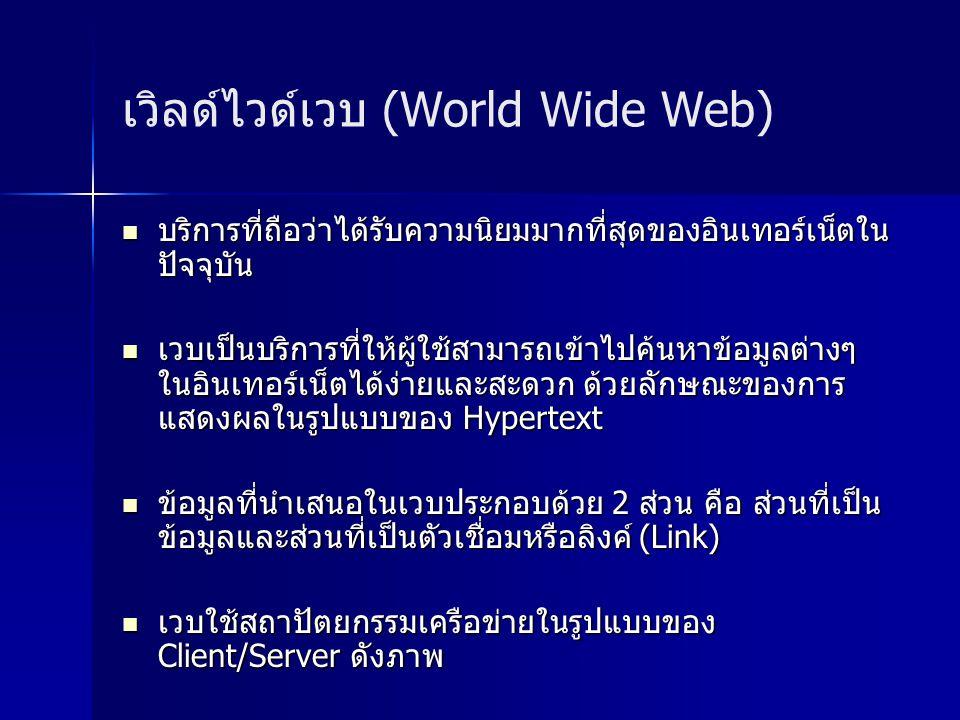 เวิลด์ไวด์เวบ (World Wide Web) บริการที่ถือว่าได้รับความนิยมมากที่สุดของอินเทอร์เน็ตใน ปัจจุบัน บริการที่ถือว่าได้รับความนิยมมากที่สุดของอินเทอร์เน็ตใน ปัจจุบัน เวบเป็นบริการที่ให้ผู้ใช้สามารถเข้าไปค้นหาข้อมูลต่างๆ ในอินเทอร์เน็ตได้ง่ายและสะดวก ด้วยลักษณะของการ แสดงผลในรูปแบบของ Hypertext เวบเป็นบริการที่ให้ผู้ใช้สามารถเข้าไปค้นหาข้อมูลต่างๆ ในอินเทอร์เน็ตได้ง่ายและสะดวก ด้วยลักษณะของการ แสดงผลในรูปแบบของ Hypertext ข้อมูลที่นำเสนอในเวบประกอบด้วย 2 ส่วน คือ ส่วนที่เป็น ข้อมูลและส่วนที่เป็นตัวเชื่อมหรือลิงค์ (Link) ข้อมูลที่นำเสนอในเวบประกอบด้วย 2 ส่วน คือ ส่วนที่เป็น ข้อมูลและส่วนที่เป็นตัวเชื่อมหรือลิงค์ (Link) เวบใช้สถาปัตยกรรมเครือข่ายในรูปแบบของ Client/Server ดังภาพ เวบใช้สถาปัตยกรรมเครือข่ายในรูปแบบของ Client/Server ดังภาพ