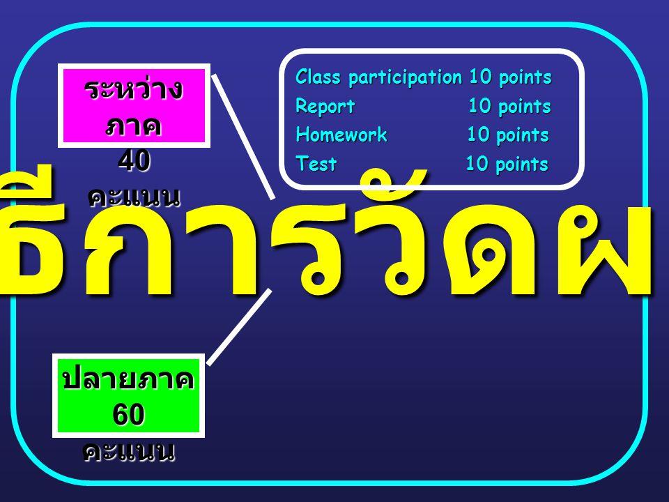 วิธีการวัดผล ระหว่าง ภาค 40 คะแนน ปลายภาค 60 คะแนน Class participation 10 points Report 10 points Homework 10 points Test 10 points