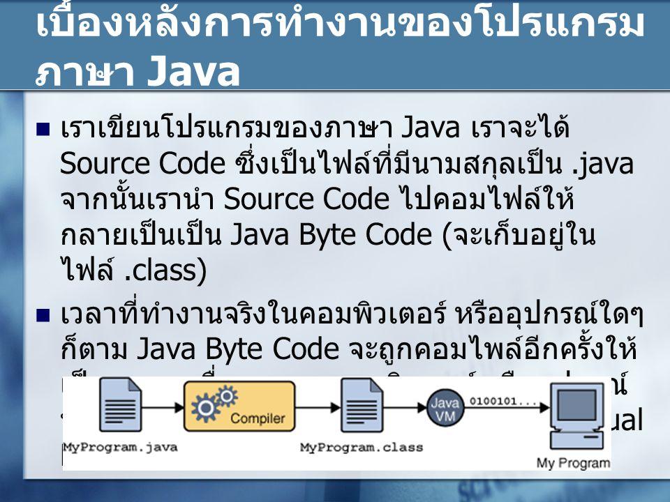 เบื้องหลังการทำงานของโปรแกรม ภาษา Java เราเขียนโปรแกรมของภาษา Java เราจะได้ Source Code ซึ่งเป็นไฟล์ที่มีนามสกุลเป็น.java จากนั้นเรานำ Source Code ไปค